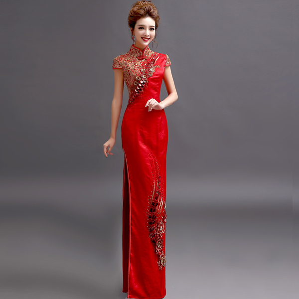 China Chines Vintage Chinese Clothing Store Oriental Silk Traditional Bridal Bride Sexy Long Red Wedding Cheongsam Qipao Dress In Cheongsams From Novelty