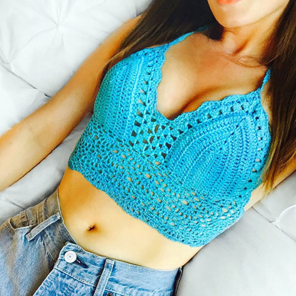 2019 New <font><b>crop</b></font> <font><b>top</b></font> <font><b>Sexy</b></font> Women Summer Backless <font><b>Crochet</b></font> Knit Beach Knitting Halter Cami Tank <font><b>Crop</b></font> <font><b>Top</b></font> S / M / L / XL image