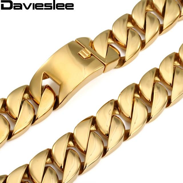 18dd2a4ca 31mm 316L Acero inoxidable hombres cadena gruesa super pesado oro tono plano  redondo curb Collar personalizado