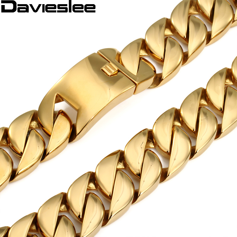 31mm 316L Stainless Steel Mens Chain Super Heavy Thick Gold Tone Flat Round Curb Customized Necklace Wholesale Jewelry LHN29