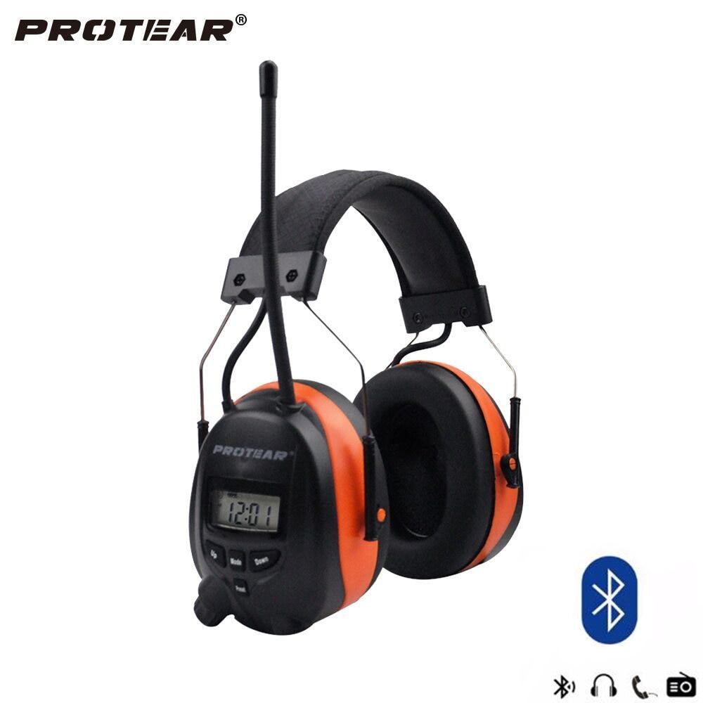 Protear NRR 25dB Protection Auditive Bleu dent AM/FM Radio Oreilles Protection Auditive Électronique Bluetooth Casque Ear Defender
