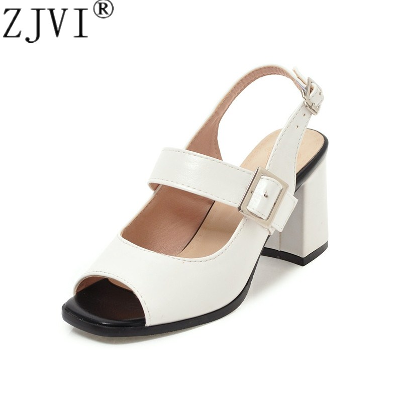 ZJVI woman fashion square high heels sandals women new summer open toe shoes 2018 womens female buckle casual party white sandal new summer sandal high heel women thick bottom female sandals casual shoes fashion leather sandal comfortable sweet cute woman