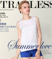 Free shipping Ms organza short-sleeved chiffon brought the dew shoulder garment unlined upper garment of a word
