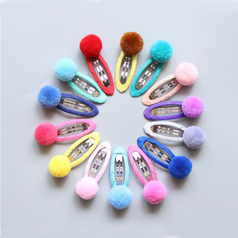 ideacherry Brand Child Hairpin Baby Side Clips Hairball Lovely Candy Color Baby Girls Barrettes Baby Hair Accessories Hairpins new arrival baby cute 30pcs lot wholesale hair clips glitter animals butterfly felt hairpins high quality baby princess clips