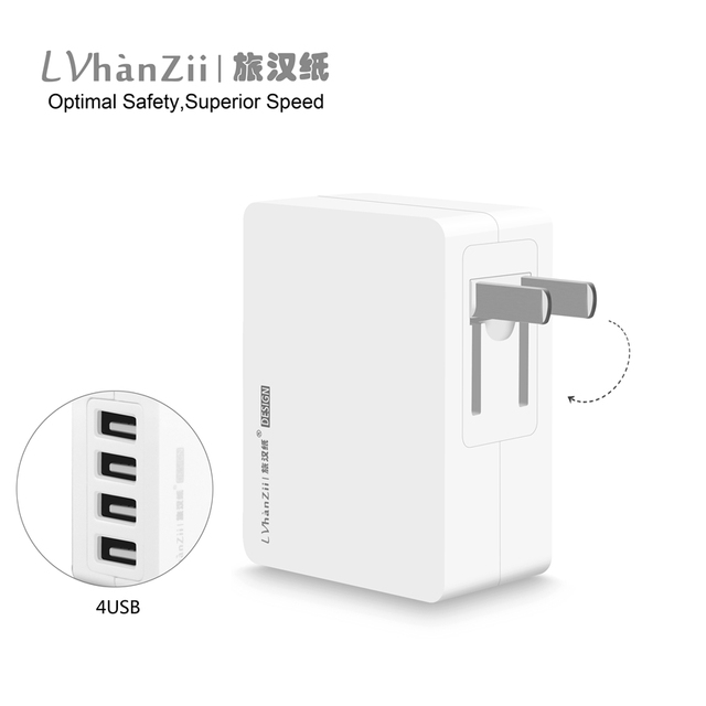 5V 4A 4 Ports USB Portable Home Travel Wall Charger US Canada Plug AC Power Adapter For iPhone For iPod Mobile Phone Charger