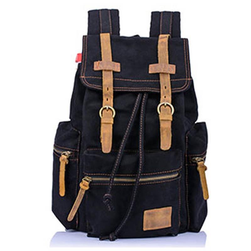 ФОТО 2017 new Unisex's Simple Design Flap Pocket Canvas Backpack Travel bolsas mochilas men's backpack