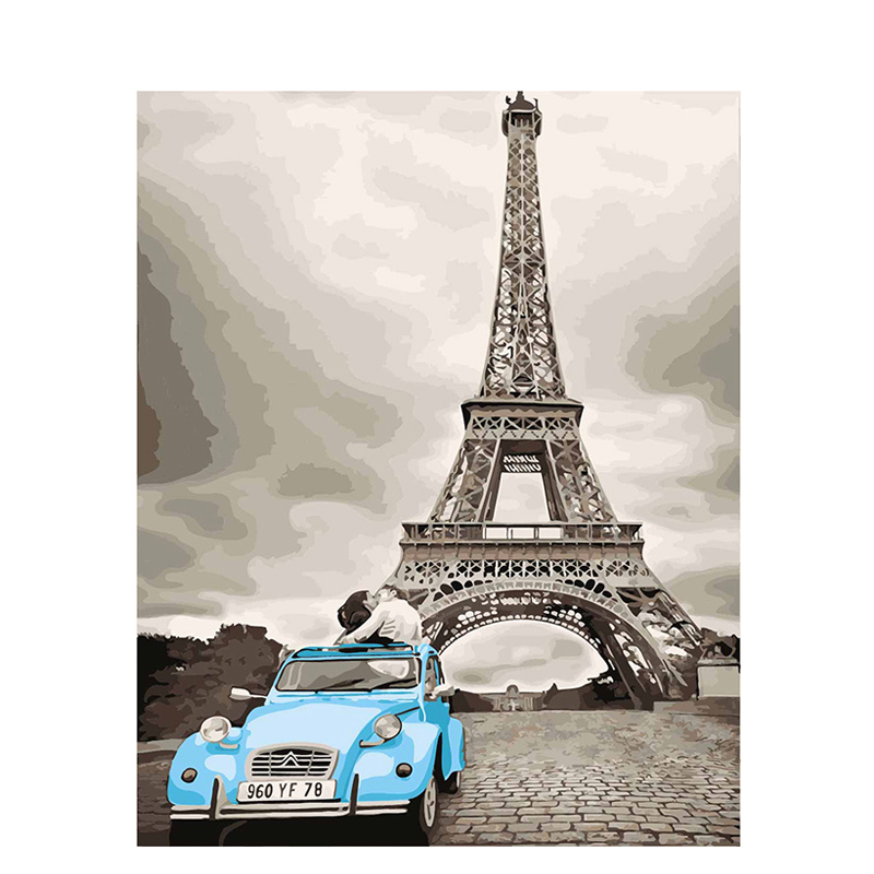 Modern Paris Kiss Framed Picture Painting & Calligraphy DIY Painting By Numbers Coloring By Numbers 40*50cm