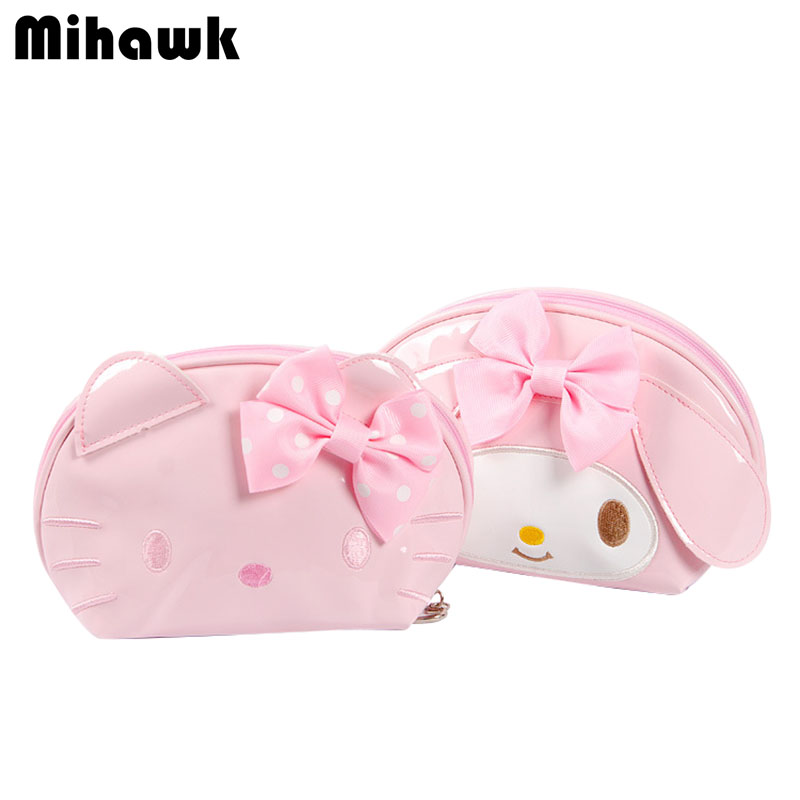 Mini Cute Hello Kitty Cosmetic Bags Girl's Travel Makeup Tools Organizer Case Beautician Wash Suitcase Accessories Supplies