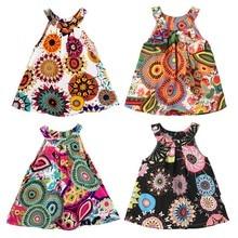От 6 месяцев до 4 лет, платье-жилет с принтом для маленьких детей Платье наряд; с цветочным узором; модные платья для девочек детское платье в богемном стиле для маленьких девочек