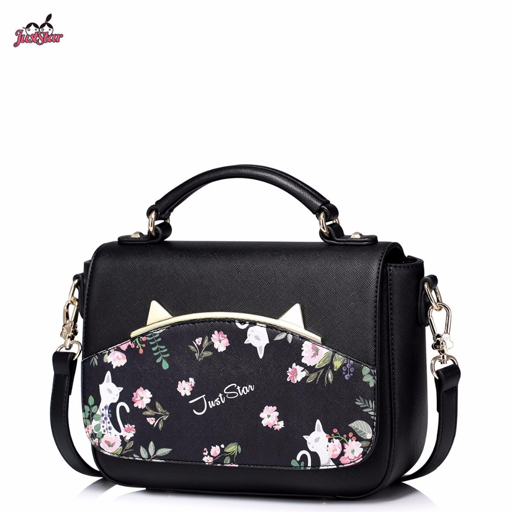 Just Star Brand Design Fashion Cat Ears Flower Printing PU Women Leather Girls Ladies Handbag Shoulder Crossbody Bag just star brand new design fashion flowers pu leather women s handbag ladies girls shoulder cross body drawstring bucket bag