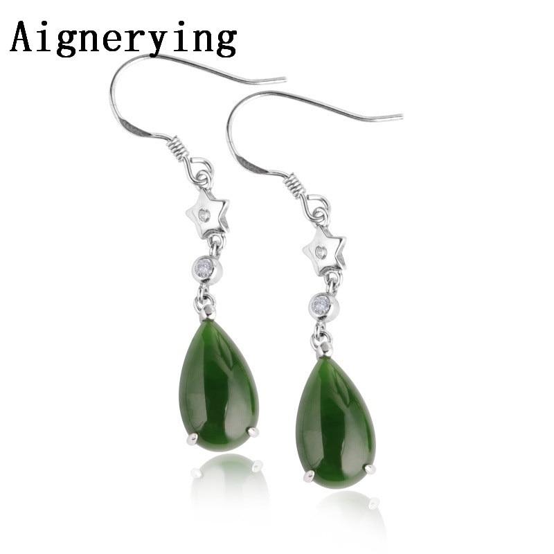 Certificat naturel vert Jade bijoux Dangle boucle d'oreille pour femmes fille bijoux boucles d'oreilles S925 argent crochet lunette avec boîte-cadeau