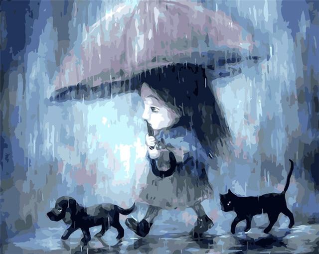 Regenachtige olieverf meisje foto nummers huisdieren home decor hand