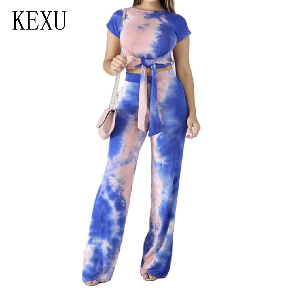 KEXU New High Street Style Brand Fashion Women Long Jumpsuits Tie Dye Two Pieces Sets Summer Bandage Purple Straight Trousers