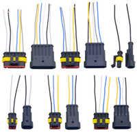 Juego de toma de conexión eléctrica impermeable para coche, 1 unids/lote, 1,5 conectores, 1/2/3/4/ 5/6P, con indicador de cable AWG
