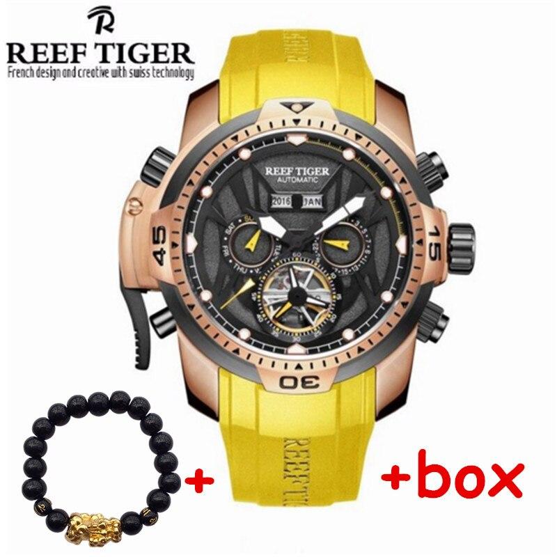 2017 Marca Reef Tigre Uomo Automatico Meccanico Orologi 50 m Impermeabile Luminoso Calendario Tourbillon gomma Orologio relogio masculino