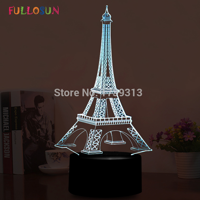 3D LED Illusion USB լույսեր LED Էյֆելյան աշտարակի սեղանի լամպ, գունագեղ Flashրամեկուսացման դեկորացիաներով Լույսեր LED սեղանի լամպ, որպես տոնական նվերներ