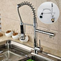 New brass deck mounted thicken kitchen swivel spout two handle sink faucet pull down spray chrome.jpg 200x200
