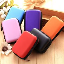 MinI 6 colors Portable Zipper Hard Headphone Case PU Leather Earphone Bag Protective Usb Cable Organizer Pouch Case YH-460285 цена и фото
