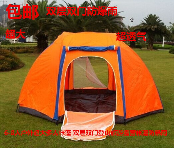 TBSF02 Warranty 4 - 10 outdoor tent more than oversized double layer two-door hiking camping tent high quality outdoor 2 person camping tent double layer aluminum rod ultralight tent with snow skirt oneroad windsnow 2 plus