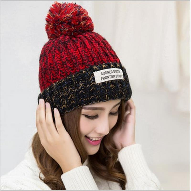 The lowest price free shipping promotion new female winter wool hat label affixed Bucharest thick warm blending Sphere knit hat 2015 han edition of the new round label affixed cloth letters tide female wool hat fashion warm knitted cap