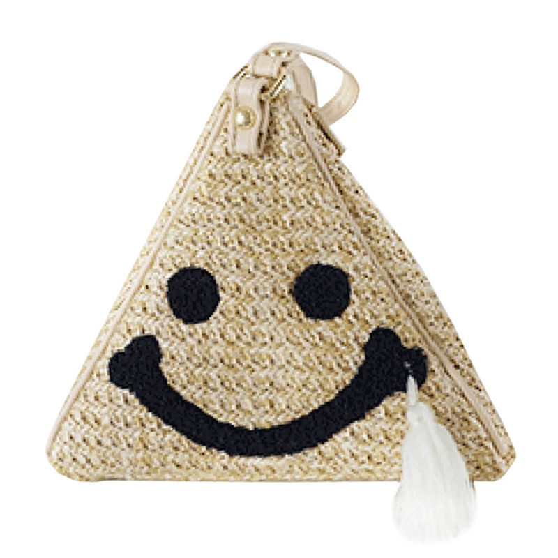 Women Handbags Face-Tassel-Bag Triangle Smile Summer Straw Weaving