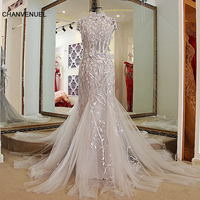 LS32998 Mermaid dresses evening party lace up back back Cap sleeves High Neck lace formal evening gowns dresses Grey real photos