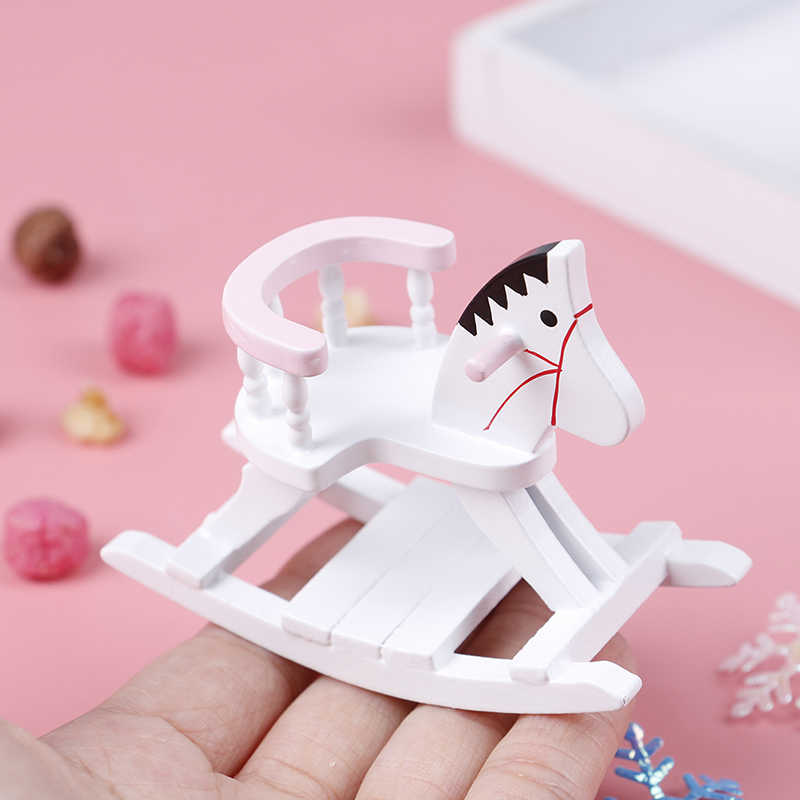 1:12 Dollhouse Miniature Wooden Rocking Horse Chair Nursery Room Furniture Doll House Accessories Toys for Children