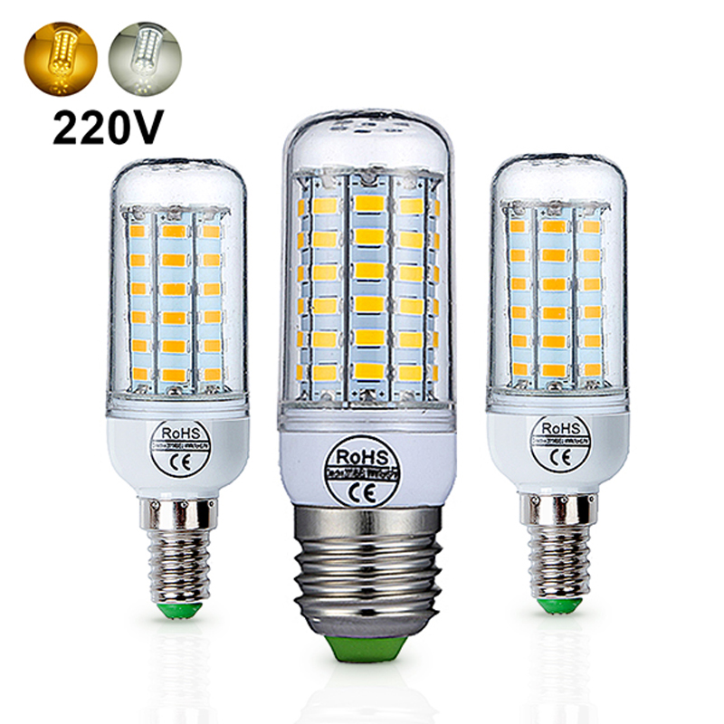 E27 LED Lamp E14 LED Bulb AC 220V 240V 24 36 48 56 69 72 LEDs Chandlier Candle Lamp Corn LED Lights Lighting For Home Decoration