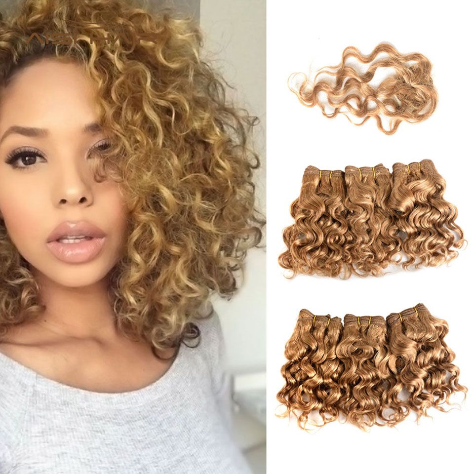 AISI Brazilian Honey Blonde Curly Human Hair Bundles With Closure Non Remy Hair Weaving Short Human Hair Extensions 8 inches