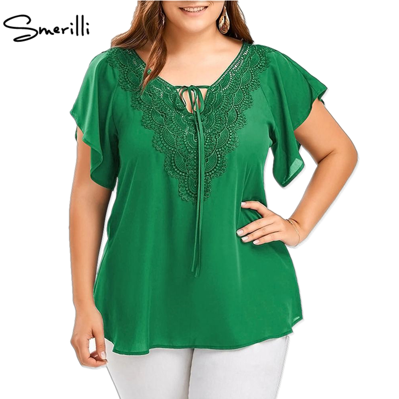 Plus size tops blouse 2018 summer women V-neck casual chiffon