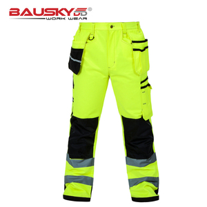 Image 4 - Bauskydd High visibility Mens multi pocket fluorescent yellow safety reflective  cargo work trousers working pant free shipping