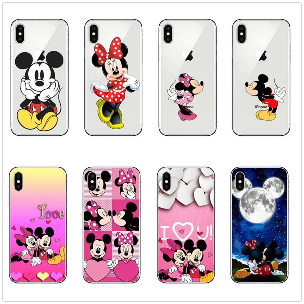 Cute <font><b>Mickey</b></font> Minnie <font><b>mouse</b></font> Love Bow back cover For <font><b>iPhone</b></font> X XS XR 7 6 <font><b>8</b></font> Plus 5 5S SE 6 6S Sexy Girl clear TPU Silicone Phone <font><b>Cases</b></font> image