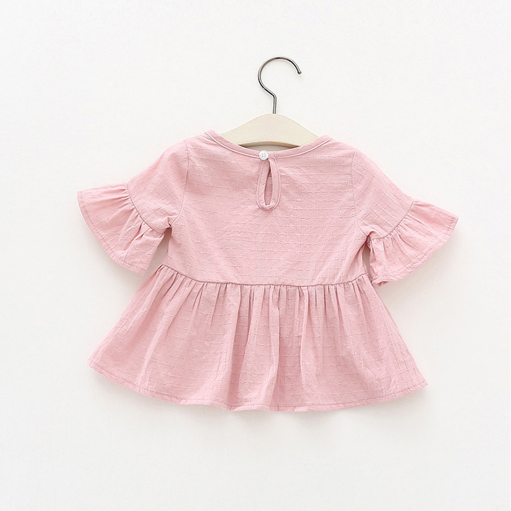 Lotus-Leaf-Short-Sleeves-Baby-Girl-Dress-Pink-White-Color-Toddler-Skirts-Solid-Princess-Blouse-Shirts-Infant-Top-Tees-Shirt-2
