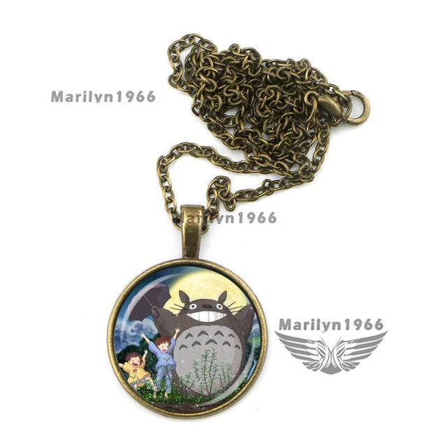 Totoro Cute girl Glass Necklace