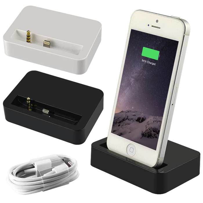 Dual Sync Date Relaxation Charger Cradle Audio desktop Dock Station adapter For iPhone 5 5s 5c SE with USB date line