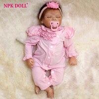 NPKDOLL 55cm 22 Handmade Reallike Reborn Baby Alive Newborn Doll W Pink Head Hoop Painted Sleeping