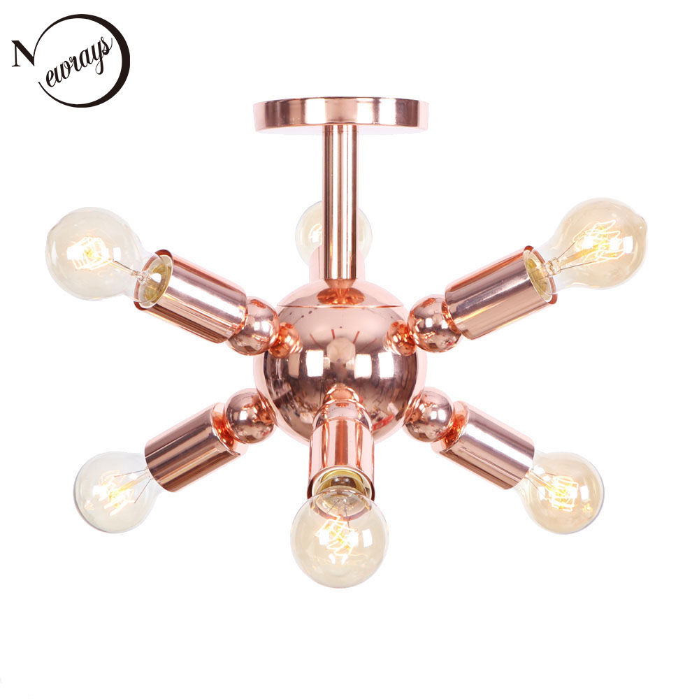 Vintage plated industrial style rose gold ceiling lamps E27 LED 220V Multi-branch ceiling lights for bedroom living room hotel chandeliers lights led lamps e27 bulbs iron ceiling fixtures glass cover american european style for living room bedroom 1031