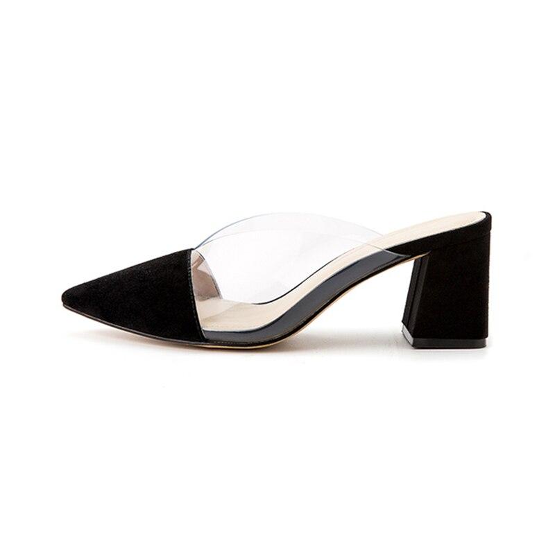 Chaussures Véritable En Karinluna noir Épais Femmes Classiques Talons Flambant Cuir Nude blanc Bout Pantoufles Mode Pointu Neuf De 2019 Élégantes c35ARL4jq