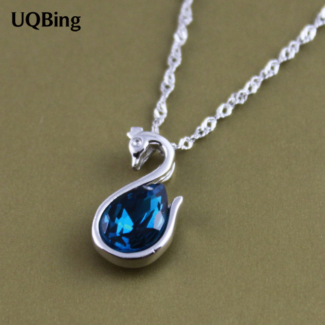 Free shipping 925 sterling silver swan blue crystal pendant free shipping 925 sterling silver swan blue crystal pendant wholesale jewelry silver pendant colgante pingente de mozeypictures Image collections