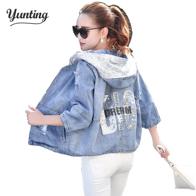 e4fb7b0c488 Autumn Spring Jacket Ladies Sequins Jean Coat Outwear Plus Size Denim  Jacket Women Coat Oversized Denim Jacket Female Hole 3XL