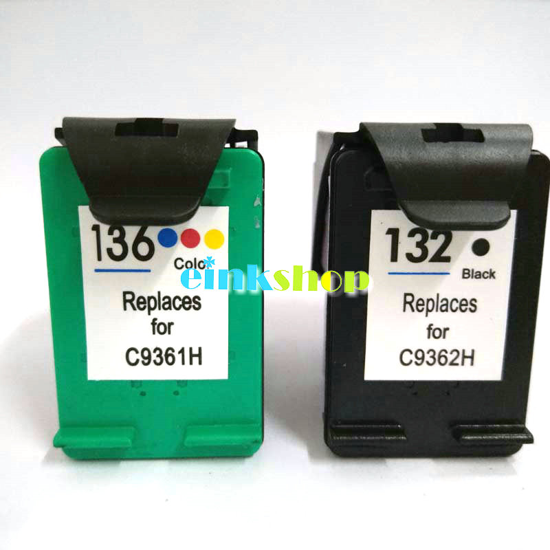 Einkshop para hp 132 136 cartucho de tinta compatível para hp photosmart 2573 c3183 1513 officejet 6213 5443 d4163 pcs1513 impressora