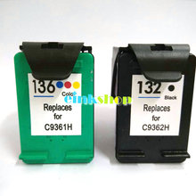 2PCS Ink Cartridge For HP 132 136 for Photosmart 6540 6543 6548 7830 Officejet 6213 Deskjet 5443 D4163 PSC 1513