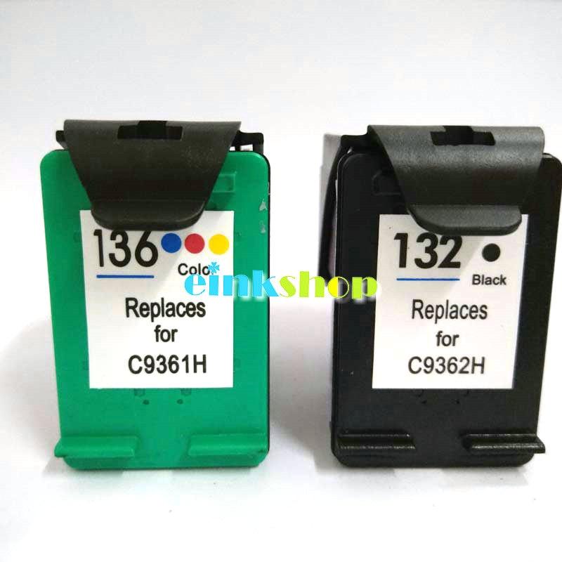 einkshop for hp 132 136 Compatible Ink Cartridge For HP Photosmart 2573 C3183 1513 Officejet 6213 5443 D4163 pcs1513 Printer
