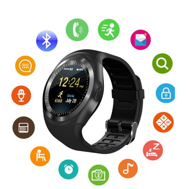 Android Smartwatch Phone-Call Bluetooth Language Y1 Multifunction GSM Passometer Sim