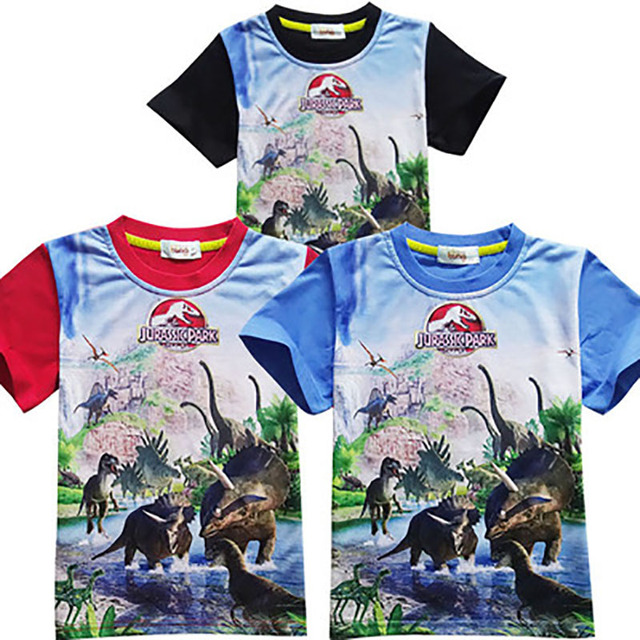Jurassic Park Various Boys Girls Clothes T-shirt Dinosaur Movie Kids Children Short Sleeve Print Toddler Baby Boy Girl Clothing