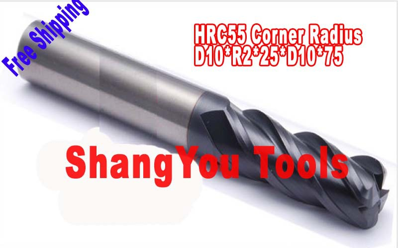 Free shipping-2pcs 10mm four Flutes Milling tools Mill cutter  Corner Radius End Mill CNC router bits hrc55  R2*D10*25*D10*75 1pc 10mm hrc45 d10 25 d10 75 r1 carbide 2 flutes corner radius end mill cnc spiral router bits milling tools