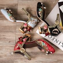 Footwear Embroidery Leather Gladiator Sandals Women 2017 Summer Rhinestone Cage High Heels Wedding Shoes Woman Peep Toe Pumps