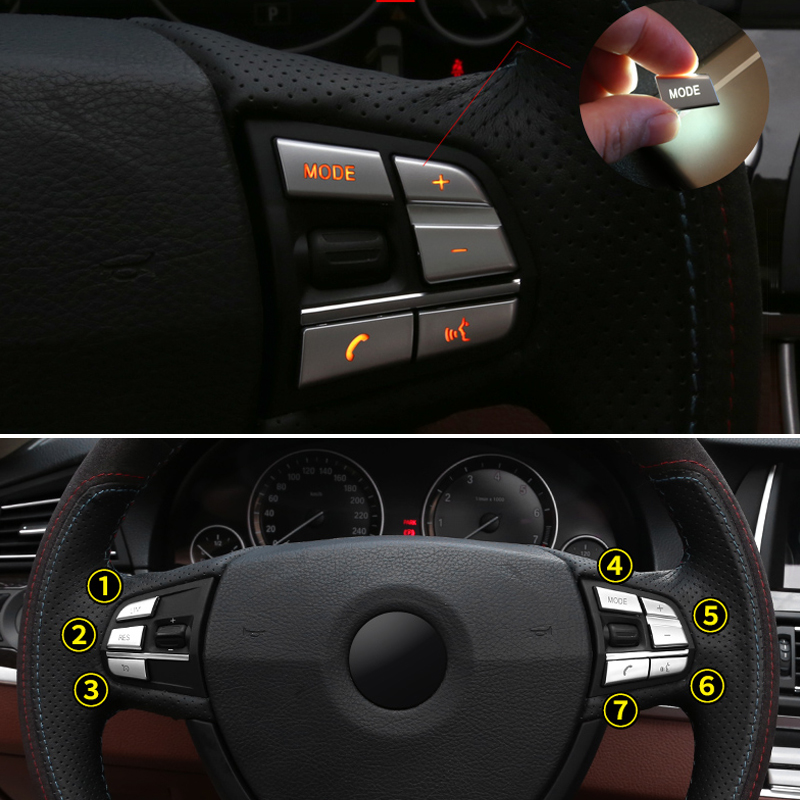 For BMW 1 2 3 4 5 7 Series X1 X3 X5 F10 F15 F30 F34 F25 E70 7pcs ABS Chrome Car Steering Wheel Switch Button Cover Sticker Trim