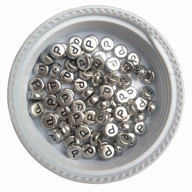 3600PCS/Lot Wholesale Acrylic Silver Letter Beads,4*7MM Flat Round Coin Single Alphabet P Jewelry Bracelet Beads