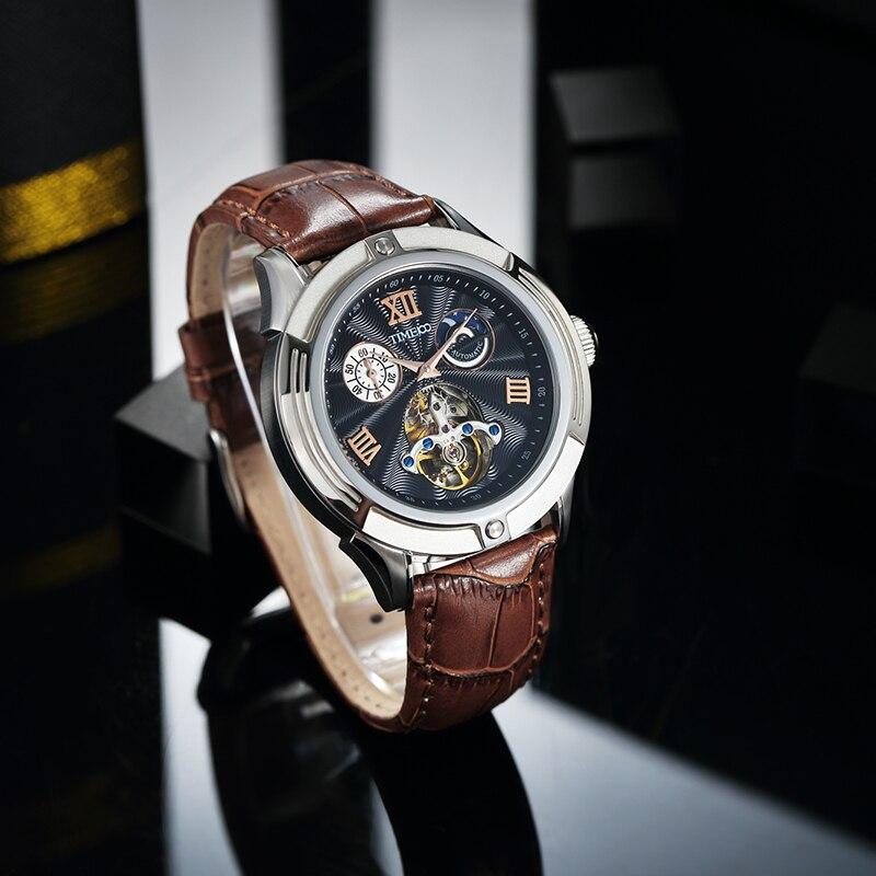 TIME 100 Mens Skeleton Watches Clock Automatic Mechanical Leather Watch Men Waterproof Sport Wrist Watch Relogio Masculino
